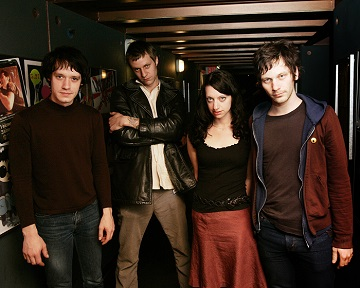 The Chicago based rock group The Ponys are seen after their performance at the Paradise Rock Club in Boston, Tuesday, April 5, 2005. (AP Photo/ Robert E. Klein)
