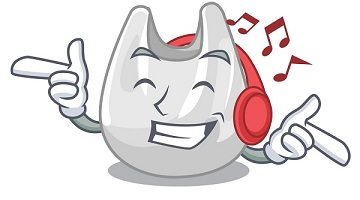 Listening music plastic bag mascot cartoon vector illustration