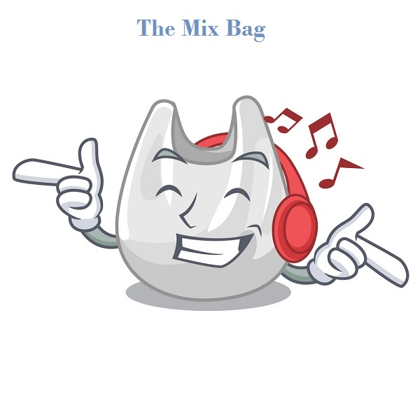 Listening music plastic bag mascot cartoon