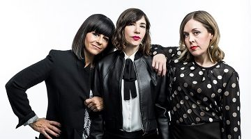 Janet Weiss, Carrie Brownstein and Corin Tucker of Sleater-Kinney in New York.