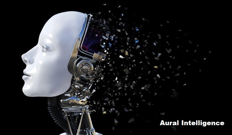3D rendering of female robot head that shatters.