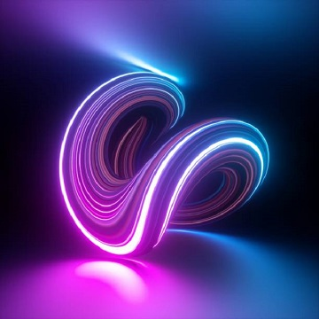 3d render, abstract background, modern loop shape, violet pink glowing neon light, colorful lines, ultraviolet, bright candy colors, glitch effect, isolated distorted object