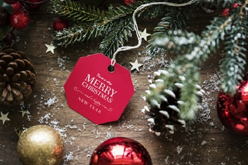 Closeup of Christmas wishing card tag